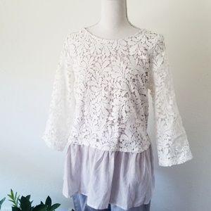 Promesa White Lace Seersucker Layered Tunic